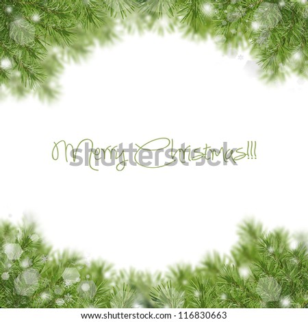 Christmas green framework isolated on white background - stock photo