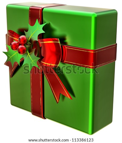 Christmas green gift with red ribbon and bow on white background - stock photo