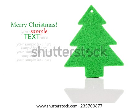 Christmas green tree decorations isolated on white background - stock photo