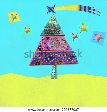 Christmas greeting card, cheerful landscape with Christmas tree and stars made �¢??�¢??with cuts - stock photo