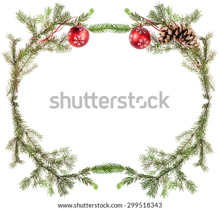 christmas greeting card frame - fir tree twigs with cones and red balls on white background - stock photo