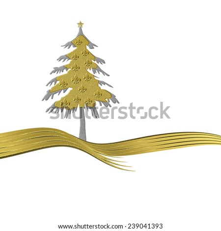 Christmas greeting card gold tree ornate with golden fleur-de-lis heraldic symbol isolated white background with copy space - stock photo