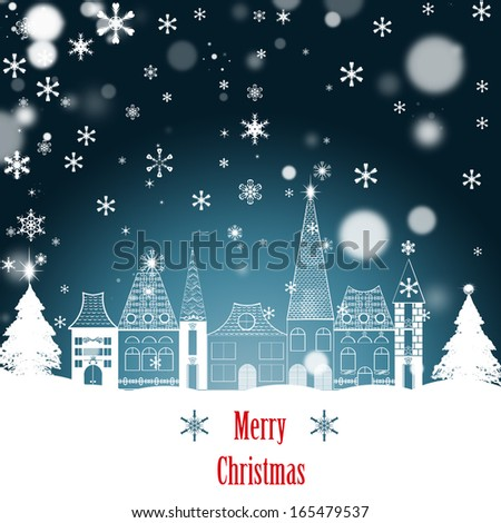 Christmas Greeting Card. Merry Christmas lettering - stock photo