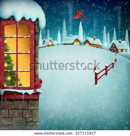 Christmas greeting card or  poster with decorated tree in window.  - stock photo
