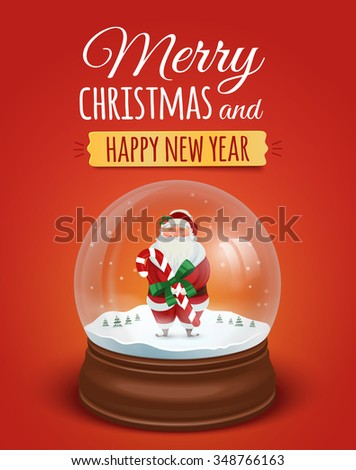 Christmas greeting card, poster with Santa Claus in the snow globe. Merry christmas and Happy new year lettering text. Rasterized Copy - stock photo