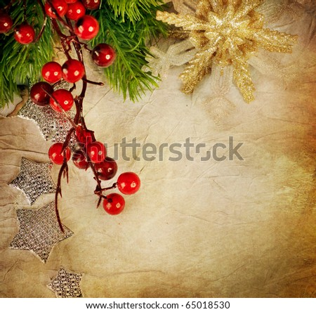Christmas Greeting Card.Vintage Style - stock photo