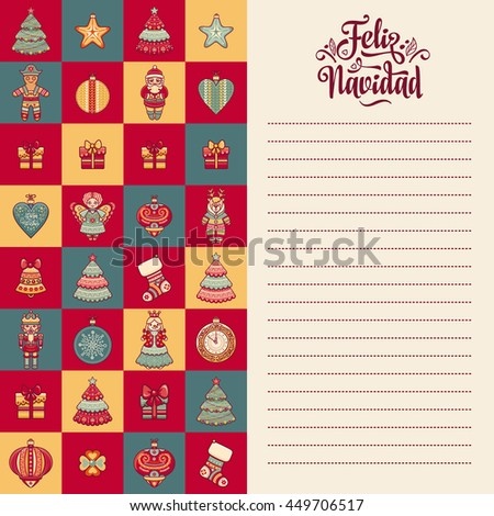 Christmas greeting card. Winter toys - Santa Claus, Nutcracker, Reindeer, gift box, balls, garlands. Congratulations message in Spanish - Feliz Navidad. Festive ornamental background for holiday party - stock photo