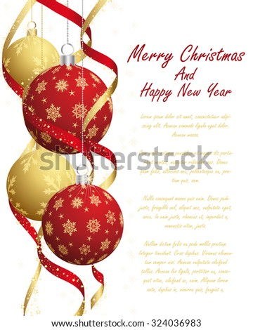 Christmas Greeting Card With Balls and Snowflakes on it. - stock photo