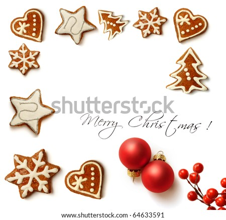 christmas greeting card with christmas ornaments and gingerbread cookies - stock photo