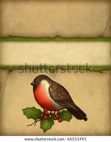 Christmas greeting card with drawing of bullfinch and holly berry - stock photo