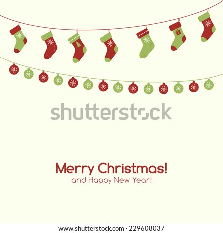 Christmas greeting card with garlands. Raster version - stock photo