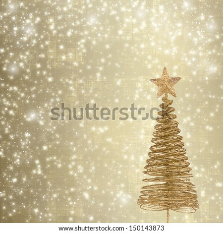 Christmas greeting card with gold metal firtree on the abstract background with snowflakes - stock photo