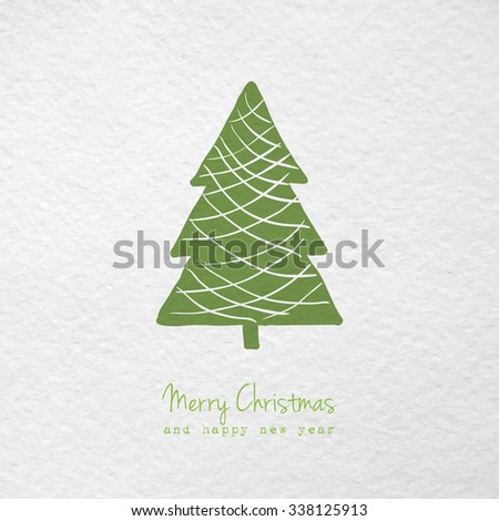 Christmas greeting card with hand drawn stylized christmas tree. Raster version - stock photo