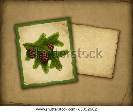 Christmas greeting card with illustration of cone on branch - stock photo