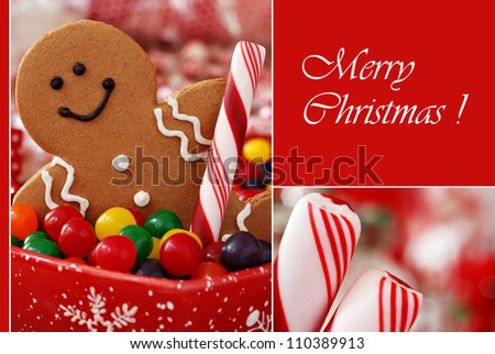 Christmas greeting card with macro images of smiling gingerbread man with candy and peppermint sticks with shallow dof on red background.  (text on solid color and easy to remove or replace) - stock photo