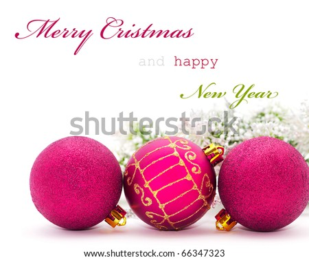 Christmas greeting card with pink baubles and sample text - stock photo