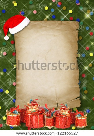 Christmas greeting card with presents on the  green abstract background - stock photo