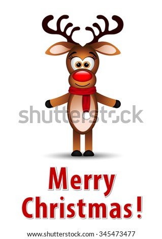 Christmas greeting card with reindeer  - stock photo