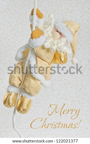 Christmas greeting card with Santa Claus on a white background with gold ornaments - stock photo
