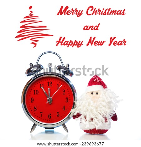 Christmas greeting card with Santa Claus or Father Frost and vintage alarm clock with red dial on white background with reflection. Showing time five minutes before twelve midnight - stock photo