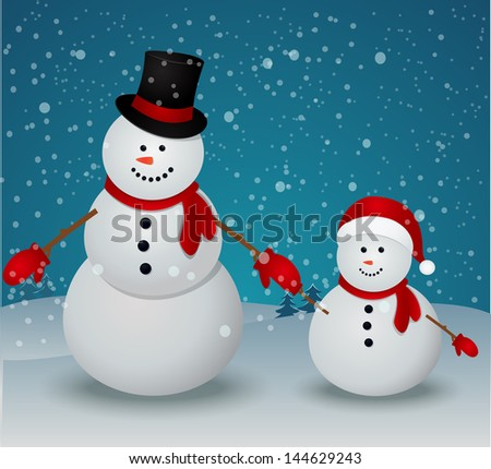 Christmas Greeting Card with snowman family - stock photo