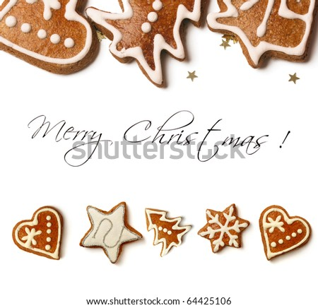 christmas greeting card with sweet christmas gingerbreads - stock photo