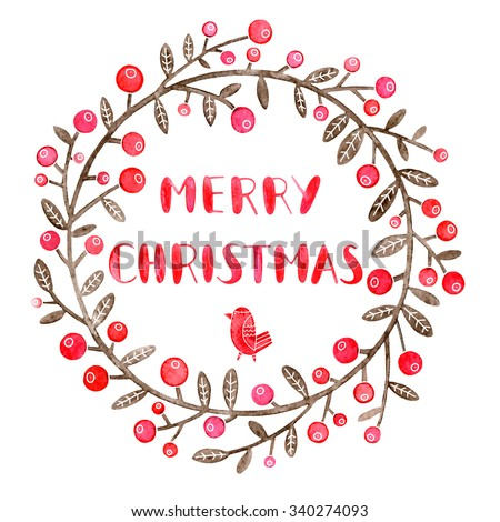 Christmas greeting card with wreath of holly on white background. Christmas holly wreath illustration. Merry Christmas typography design. Merry Christmas hand drawn lettering. - stock photo