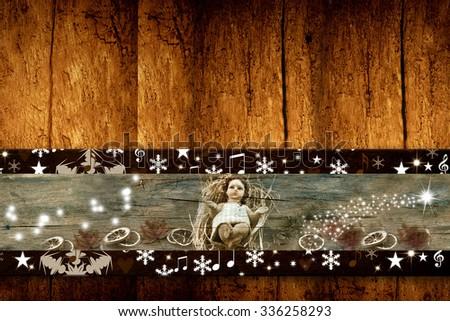 Christmas greeting postcards Baby Jesus rustic style - stock photo