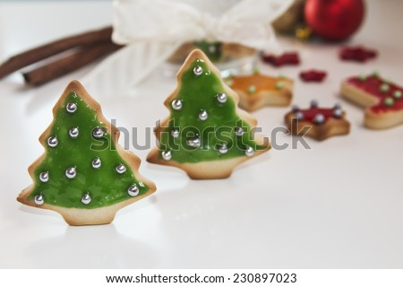 Christmas handmade cookies tree on white background  - stock photo