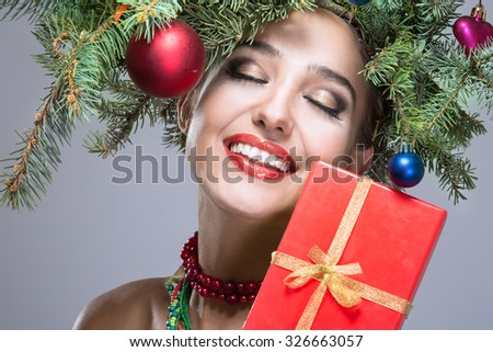 christmas happy woman over white background - stock photo