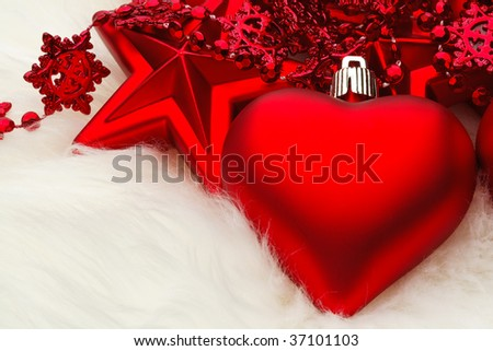 Christmas Heart Decoration on white fur - stock photo