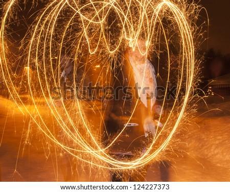 christmas heart  light effect - stock photo