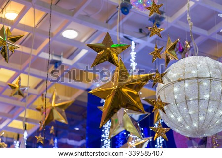 Christmas holiday blinking abstract background with decorated christmas tree. - stock photo