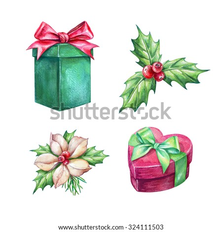 Christmas holiday clip art,  gifts, holy berry, poinsettia, design elements, garland, watercolor illustration isolated on white background - stock photo
