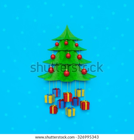 Christmas holiday creative background or New Year card. Green sparkling Christmas tree with red satin Christmas balls and colored gift boxes hanging on golden ropes on blue wall with snowflakes - stock photo