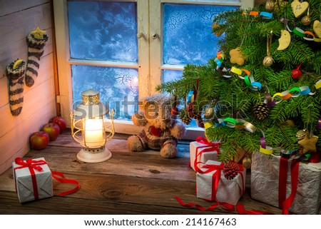 Christmas holiday in the countryside - stock photo