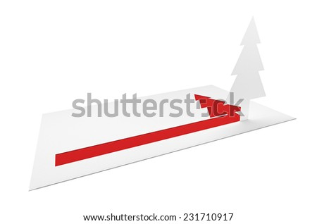 Christmas holiday letter of congratulations with paper pine tree and blank copy-space on white background - stock photo