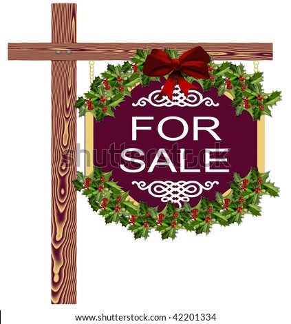 Christmas Holiday Real Estate For Sale Sign - stock photo