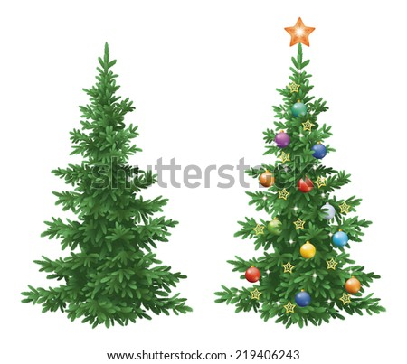 Christmas holiday spruce fir trees, natural and with ornaments, colorful balls and golden stars isolated on white background. - stock photo