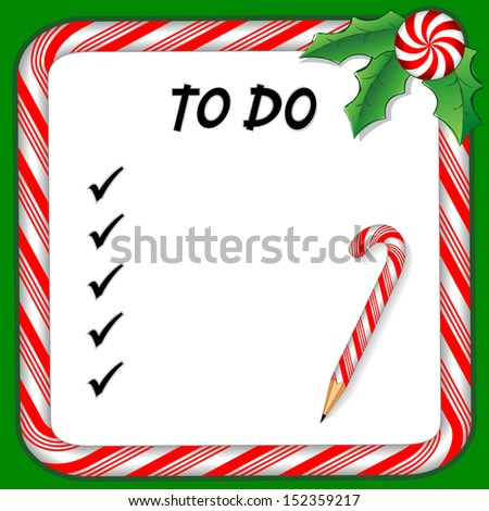 Christmas Holiday To Do List on whiteboard with candy cane frame in red and green, candy cane pencil, holly, peppermint candy trim. To organize holiday gifts and presents.  - stock photo