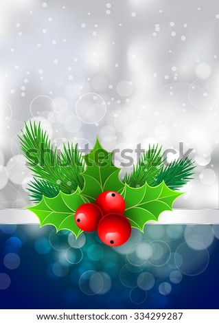 Christmas holly with berries and fir tree branches. For  posters, icons, greeting cards, print projects. Raster version - stock photo