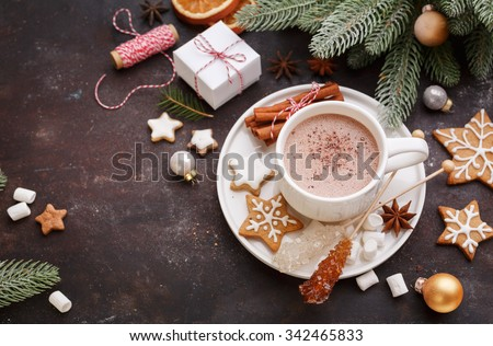 Christmas homemade gingerbread cookies and hot chocolate, top view.  Christmas Holiday background. - stock photo