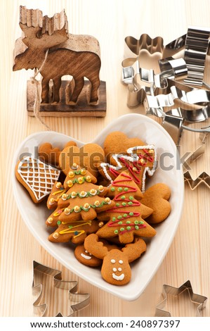 Christmas homemade gingerbread cookies. baking background - stock photo