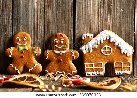 Christmas homemade gingerbread cookies cookies on wooden table - stock photo