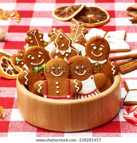Christmas homemade gingerbread cookies on table - stock photo