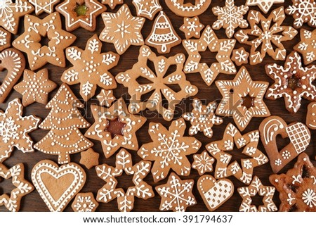 Christmas homemade gingerbread cookies on wooden table. - stock photo
