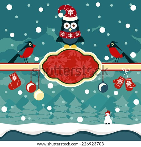 Christmas horizontal banners background with owl on place for text and snowman in winter forest cartoon design style. Raster version - stock photo