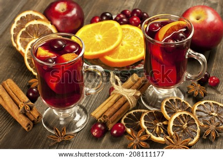 Christmas hot drink in glass - stock photo