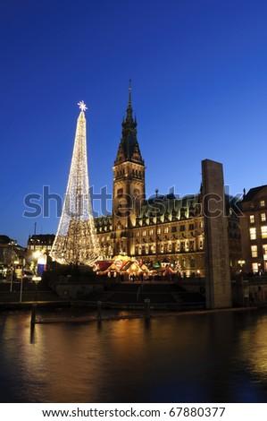 Christmas illuminations - Hamburg, Germany - stock photo