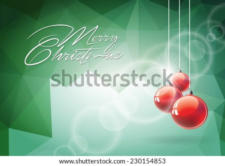 Christmas illustration with red glass ball on abstract geometric background. JPG version. - stock photo
